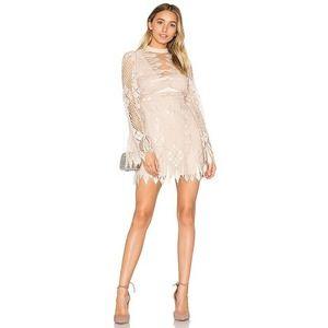Free People NWT Deco Lace Mini Dress Long Sleeve